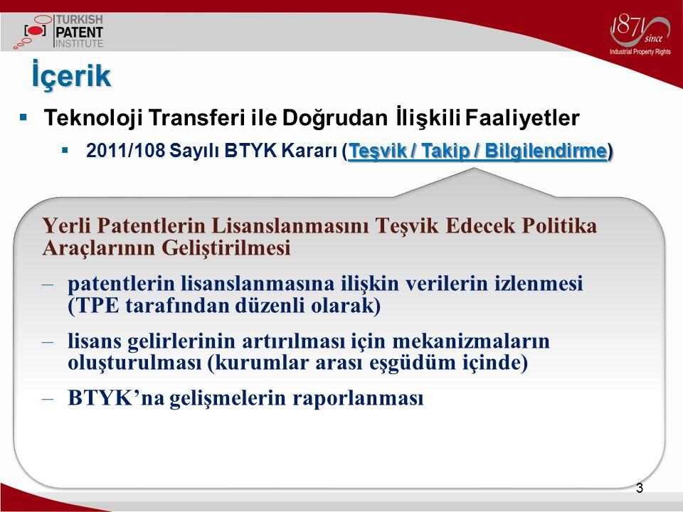  Teknoloji Transferi ile Doğrudan İlişkili Faaliyetler Teşvik  2011/108 Sayılı BTYK Kararı (Teşvik / Takip / Bilgilendirme) İçerik 4 Teşvik Sınai mülkiyetlerin ticarileşmesi ile ilgili teşvik mekanizmaları Geliştirilmesi () Geliştirilmesi ( YOİKK Vergi ve Teşvikler Teknik Komitesi ile eşgüdüm halinde ) Sınai Mülkiyet Ticarileştirme Teşviği ( 6518 Sayılı Kanun - 19 Şubat 2014 ( Kurumlar Vergisi Kanunu Madde 5B)