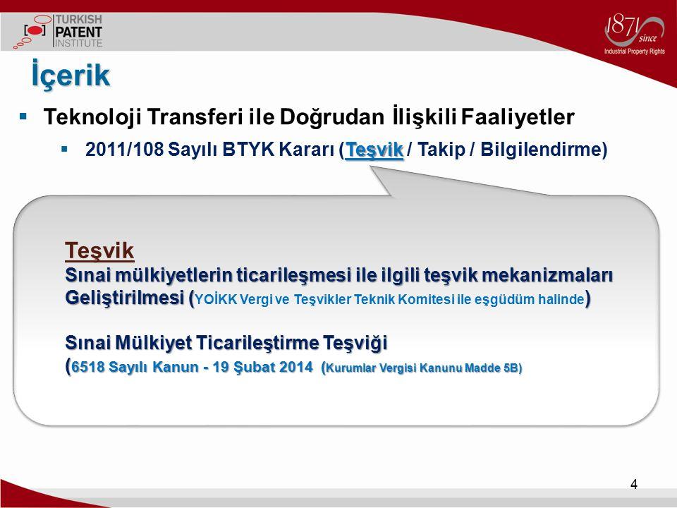  Teknoloji Transferi ile Doğrudan İlişkili Faaliyetler Takip / Bilgilendirme)  2011/108 Sayılı BTYK Kararı (Teşvik / Takip / Bilgilendirme) İçerik 5 Takip Sınai mülkiyetlerin ticarileşmesine yardımcı verilerin temini ( Sınai mülkiyetlerin ticarileşmesine yardımcı verilerin temini ( Girişimci ve Yenilikçi Üniversite Endeksi vb.) Bilgilendirme Ticarileşme ile ilgili konularda yayınlar Teknoloji Transfer Platformu (www.teknolojitransferi.gov.tr)www.teknolojitransferi.gov.tr