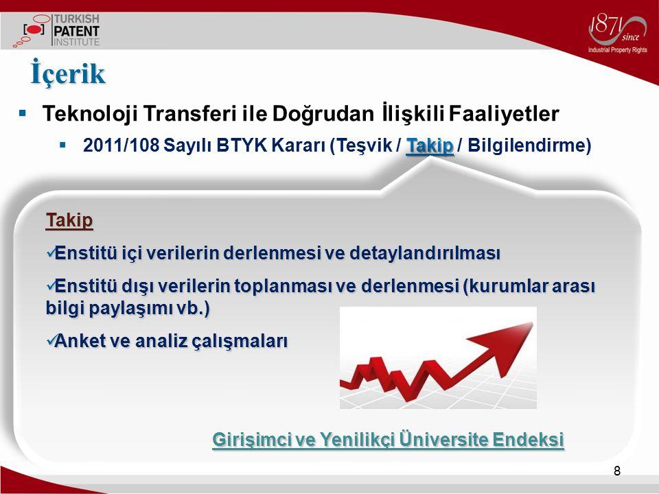  Teknoloji Transferi ile Doğrudan İlişkili Faaliyetler Takip  2011/108 Sayılı BTYK Kararı (Teşvik / Takip / Bilgilendirme) İçerik 8 Takip Enstitü iç