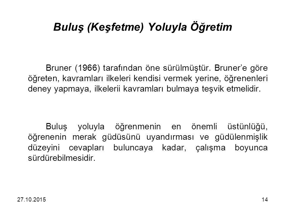 Buluş (Keşfetme) Yoluyla Öğretim Bruner (1966) tarafından öne sürülmüştür. Bruner'e göre öğreten, kavramları ilkeleri kendisi vermek yerine, öğrenenle