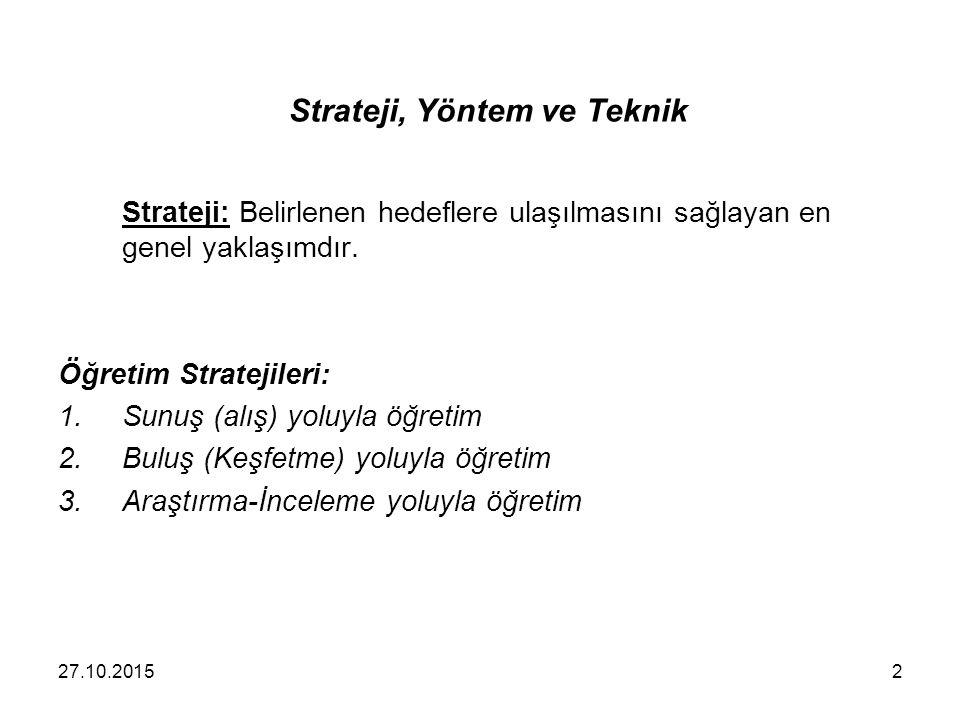 Strateji, Yöntem ve Teknik Strateji: Belirlenen hedeflere ulaşılmasını sağlayan en genel yaklaşımdır. Öğretim Stratejileri: 1.Sunuş (alış) yoluyla öğr