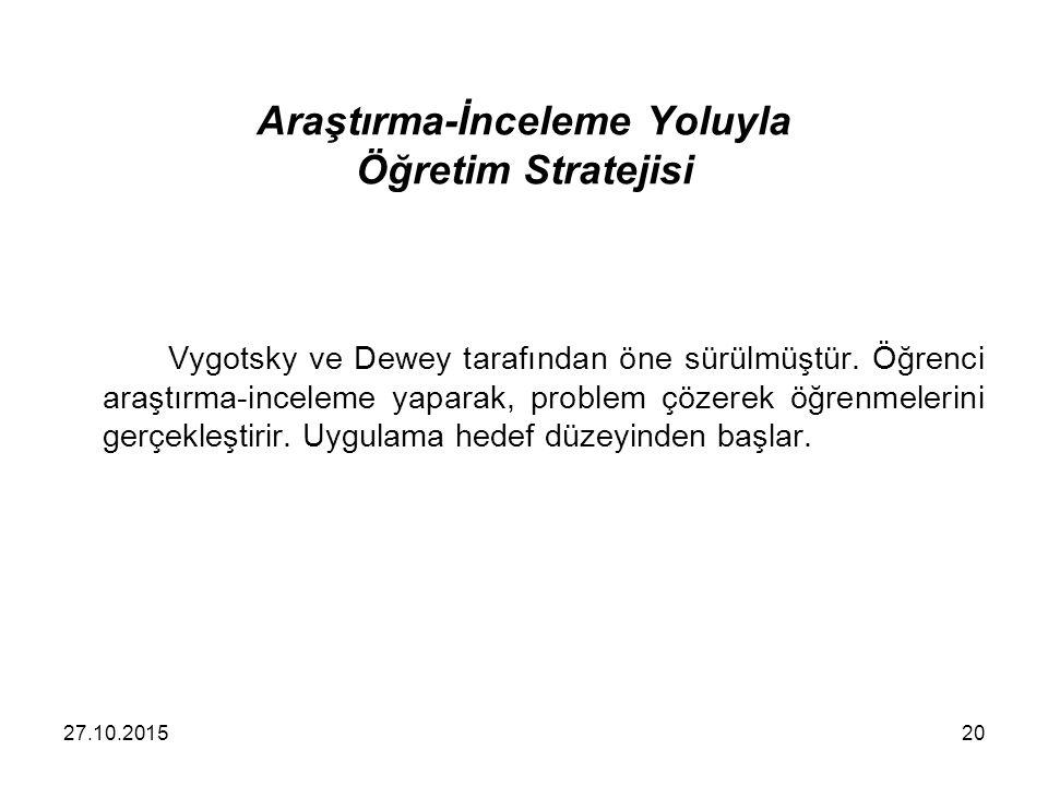 Araştırma-İnceleme Yoluyla Öğretim Stratejisi Vygotsky ve Dewey tarafından öne sürülmüştür. Öğrenci araştırma-inceleme yaparak, problem çözerek öğrenm