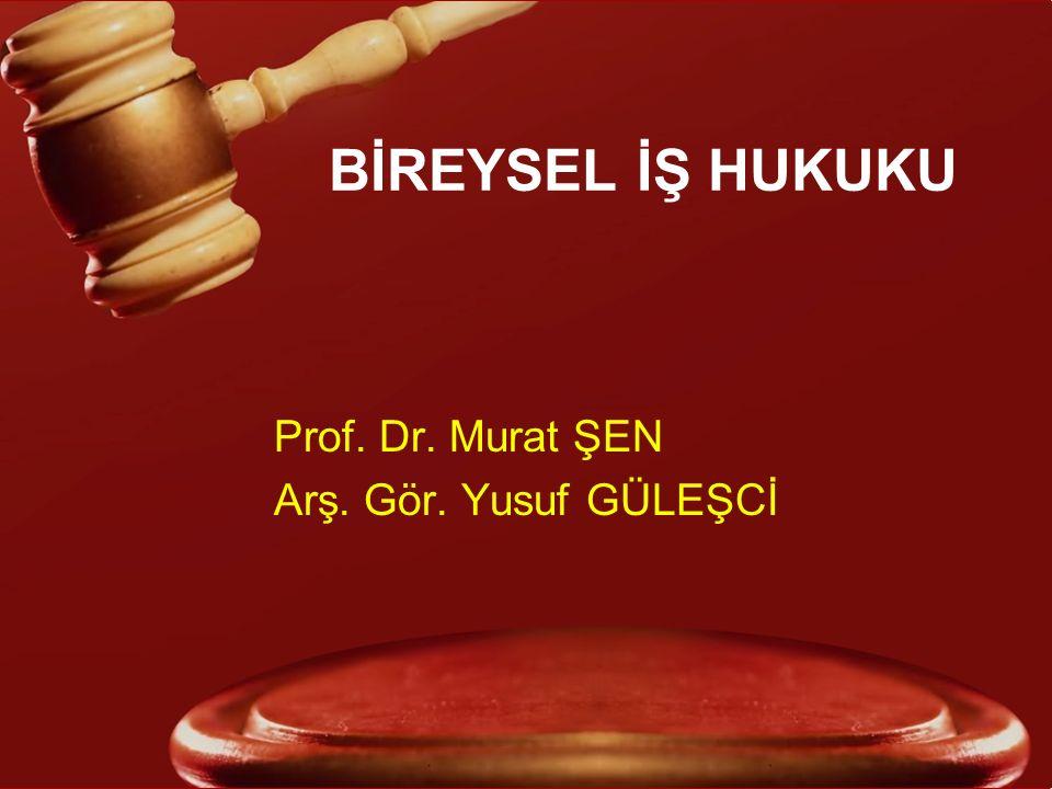 BİREYSEL İŞ HUKUKU Prof. Dr. Murat ŞEN Arş. Gör. Yusuf GÜLEŞCİ
