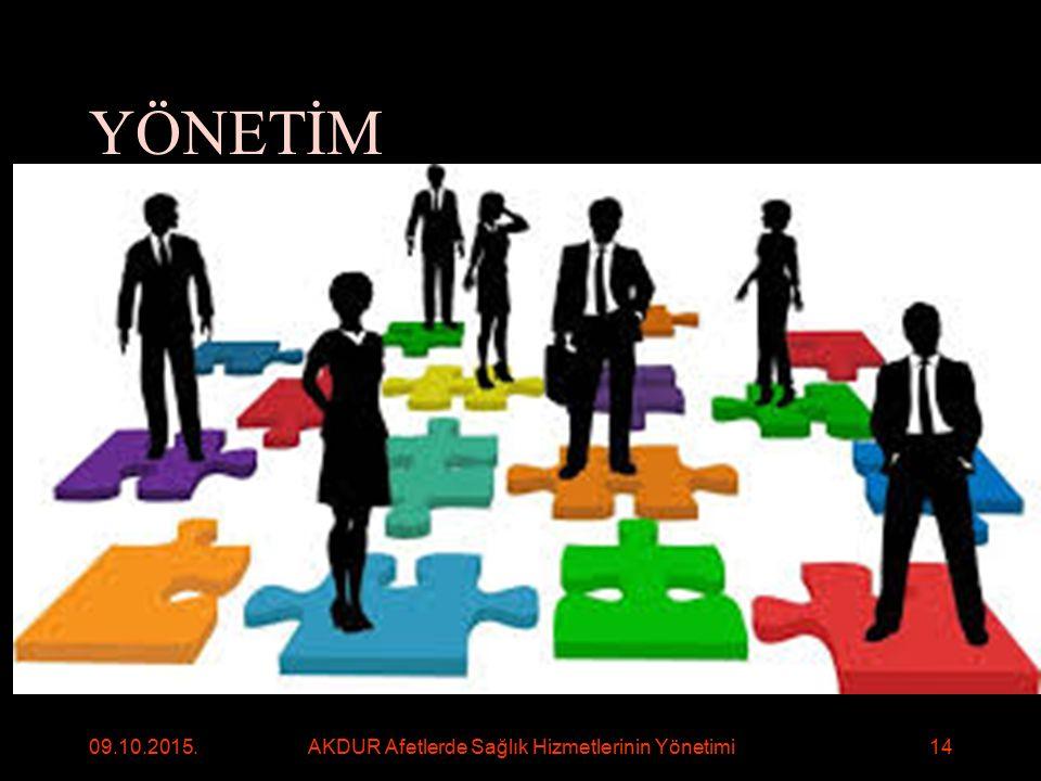 YÖNETİM Geleceği şekillendirmek, gelecekte söz sahibi olmak Bir örgütün/kuruluşun/sektörün amaçlarına ulaşmak için; planlama,örgütleme, eş güdüleme, denetleme ve değerlendirme işlevlerini yerine getirme sürecidir Görevleri yerine getirme/gereksinimleri karşılama/gereksinim ile kaynakları karşı karşıya getirme Kişi/birim/kurum/sektöre yüklenen/beklenen görevleri/gereksinimleri yerine getirmesidir 09.10.2015.AKDUR Afetlerde Sağlık Hizmetlerinin Yönetimi15