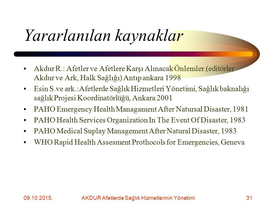 09.10.2015.AKDUR Afetlerde Sağlık Hizmetlerinin Yönetimi32