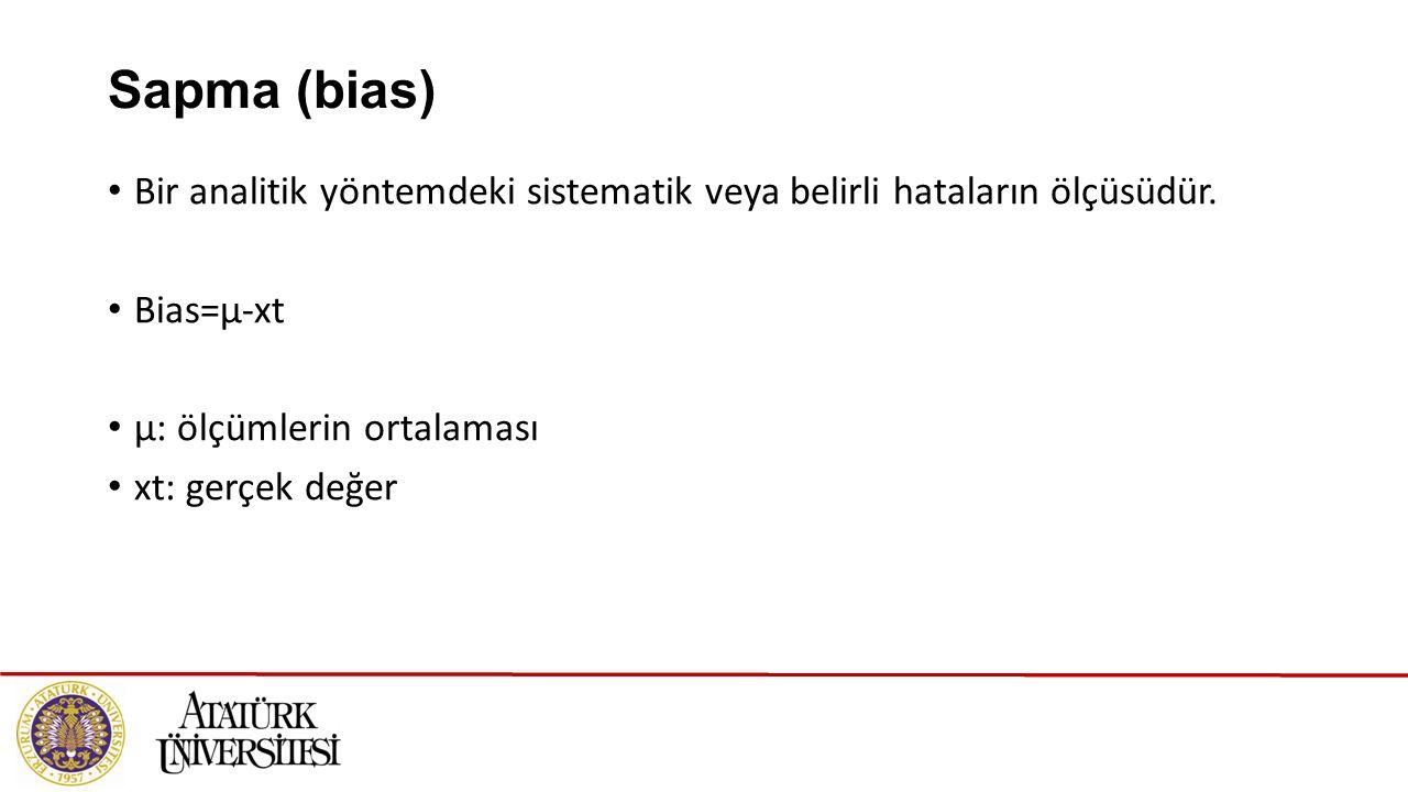 Sapma (bias) Bir analitik yöntemdeki sistematik veya belirli hataların ölçüsüdür. Bias=μ-xt μ: ölçümlerin ortalaması xt: gerçek değer