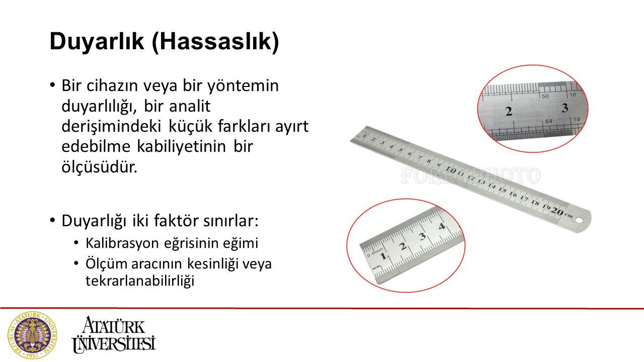 Duyarlık (Hassaslık) Bir cihazın veya bir yöntemin duyarlılığı, bir analit derişimindeki küçük farkları ayırt edebilme kabiliyetinin bir ölçüsüdür. Du