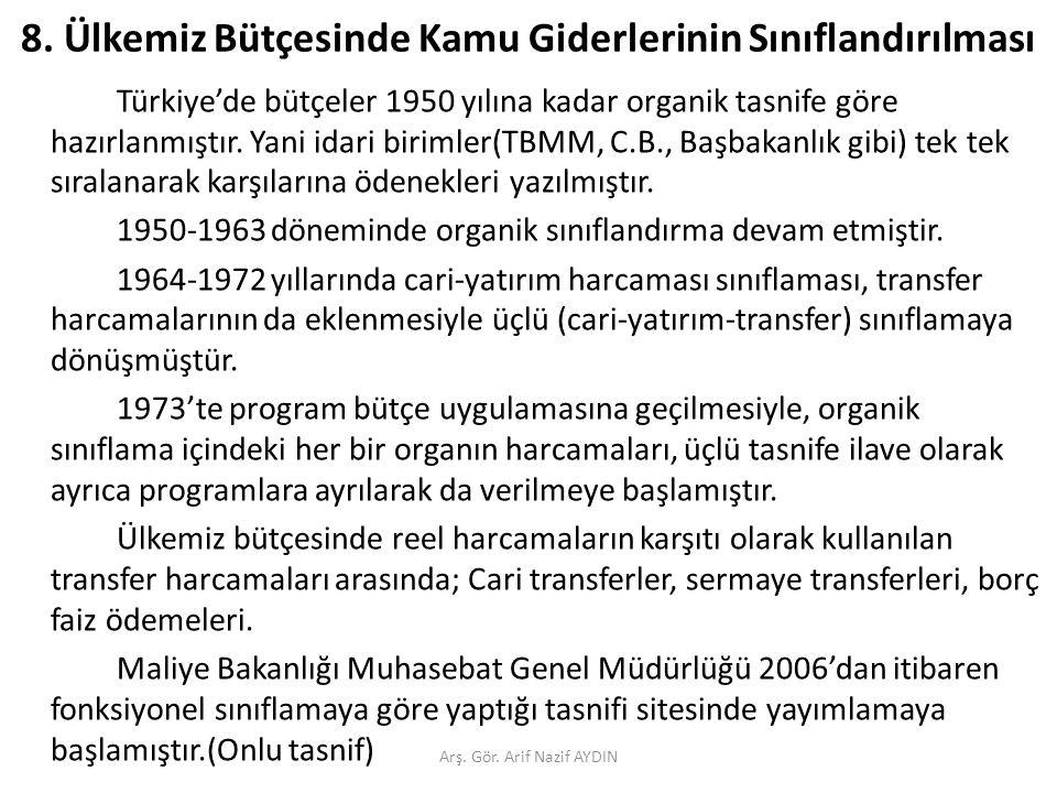 8. Ülkemiz Bütçesinde Kamu Giderlerinin Sınıflandırılması Türkiye'de bütçeler 1950 yılına kadar organik tasnife göre hazırlanmıştır. Yani idari biriml