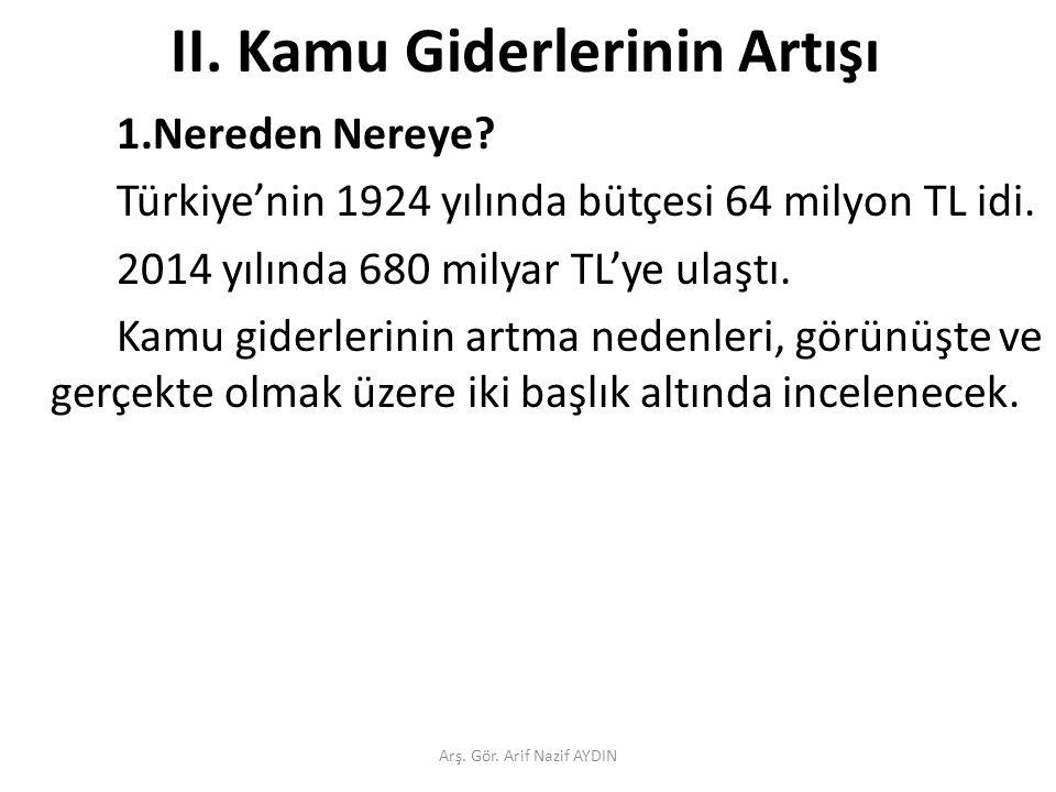 II. Kamu Giderlerinin Artışı 1.Nereden Nereye. Türkiye'nin 1924 yılında bütçesi 64 milyon TL idi.