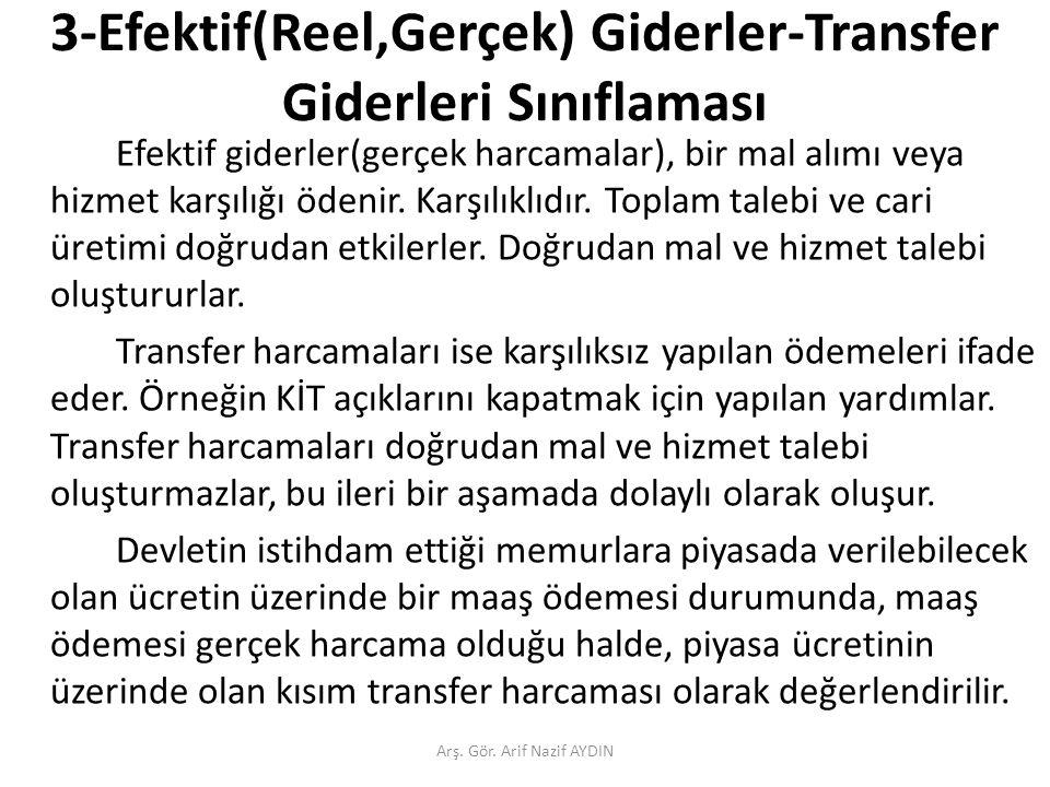 3-Efektif(Reel,Gerçek) Giderler-Transfer Giderleri Sınıflaması Efektif giderler(gerçek harcamalar), bir mal alımı veya hizmet karşılığı ödenir.