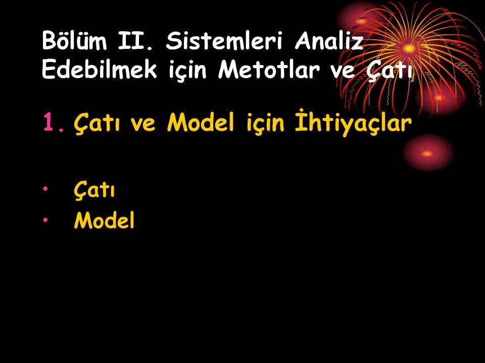 Bölüm II. Sistemleri Analiz Edebilmek için Metotlar ve Çatı 1.Çatı ve Model için İhtiyaçlar Çatı Model