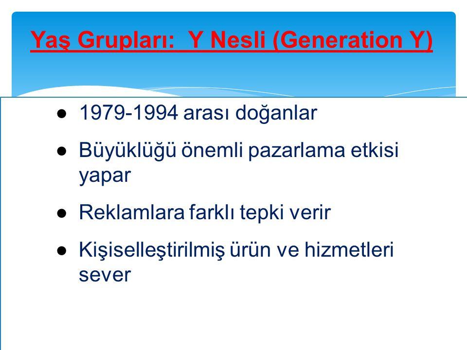 Yaş Grupları: Y Nesli (Generation Y) ●1979-1994 arası doğanlar ●Büyüklüğü önemli pazarlama etkisi yapar ●Reklamlara farklı tepki verir ●Kişiselleştiri