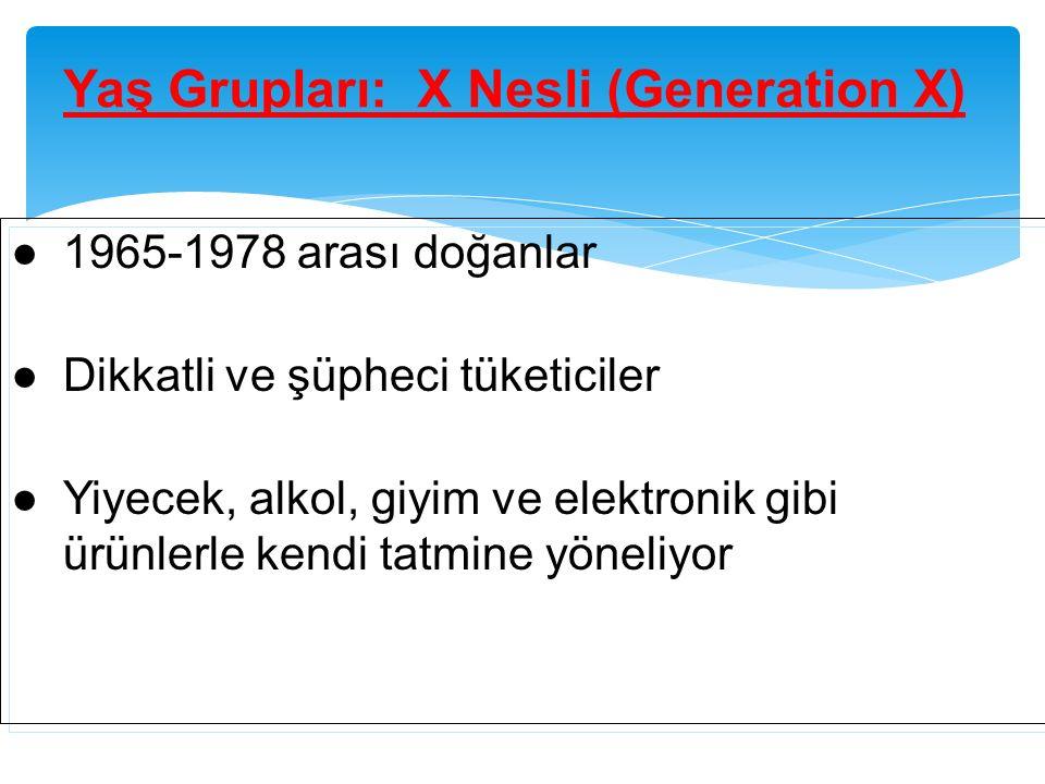 Yaş Grupları: X Nesli (Generation X) ●1965-1978 arası doğanlar ●Dikkatli ve şüpheci tüketiciler ●Yiyecek, alkol, giyim ve elektronik gibi ürünlerle ke