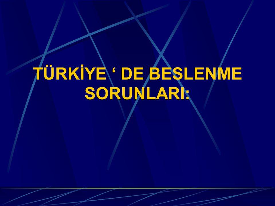 TÜRKİYE ' DE BESLENME SORUNLARI: