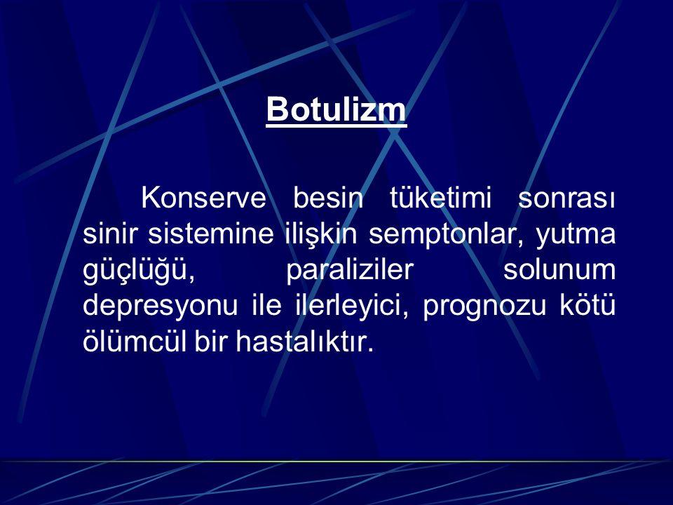 Botulizm Konserve besin tüketimi sonrası sinir sistemine ilişkin semptonlar, yutma güçlüğü, paraliziler solunum depresyonu ile ilerleyici, prognozu kö