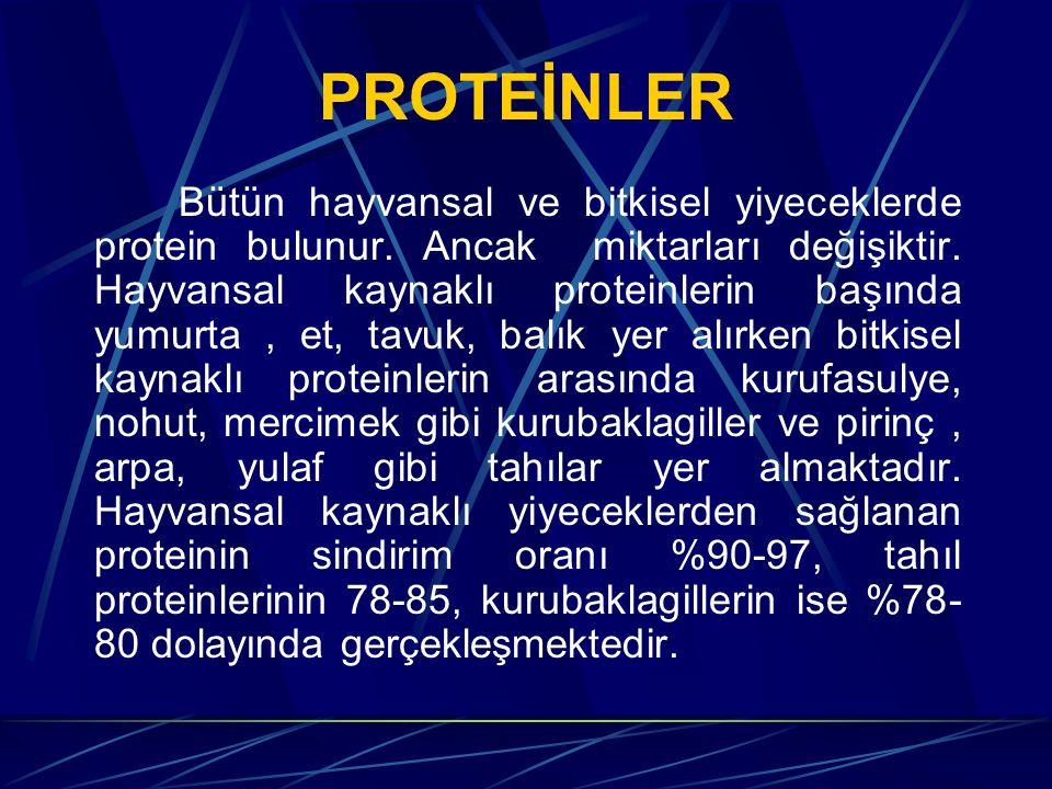 PROTEİNLER Bütün hayvansal ve bitkisel yiyeceklerde protein bulunur. Ancak miktarları değişiktir. Hayvansal kaynaklı proteinlerin başında yumurta, et,