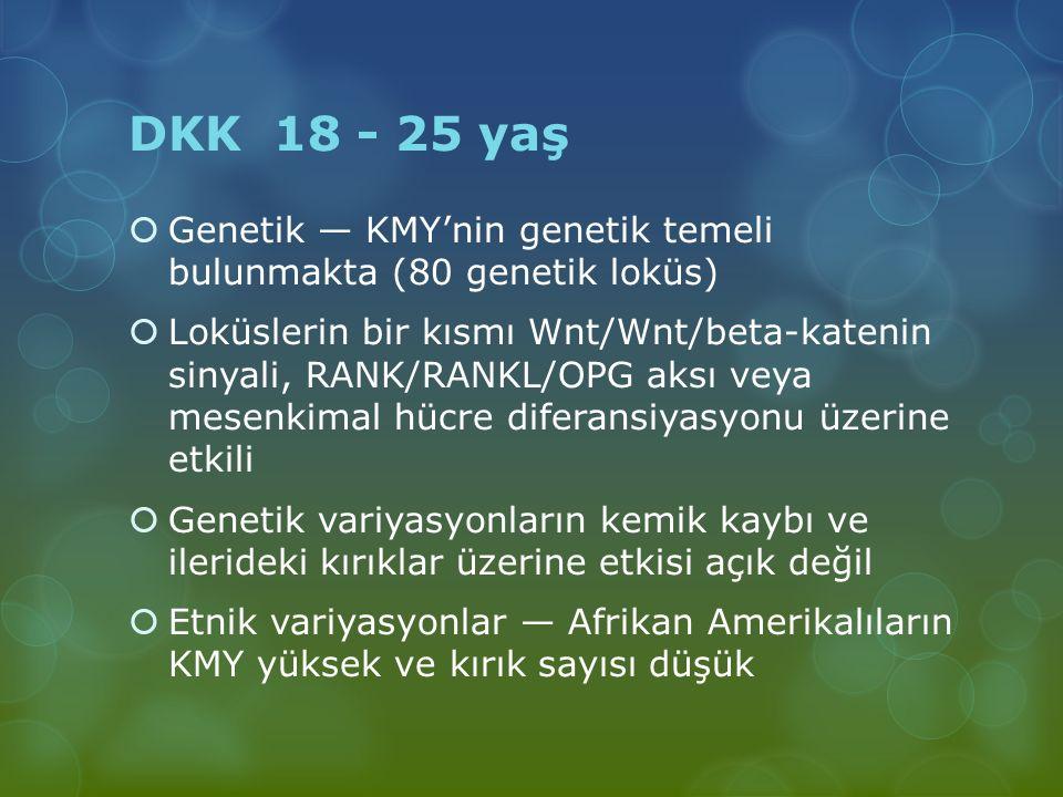 DKK 18 - 25 yaş  Genetik — KMY'nin genetik temeli bulunmakta (80 genetik loküs)  Loküslerin bir kısmı Wnt/Wnt/beta-katenin sinyali, RANK/RANKL/OPG a