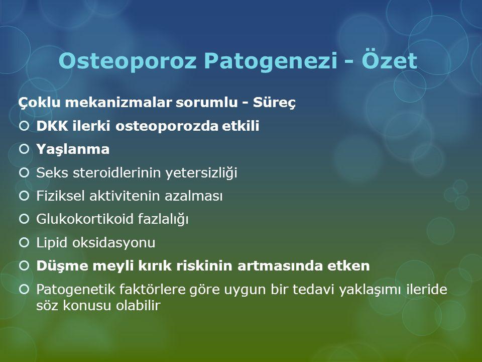 Osteoporoz Patogenezi - Özet Çoklu mekanizmalar sorumlu - Süreç  DKK ilerki osteoporozda etkili  Yaşlanma  Seks steroidlerinin yetersizliği  Fizik