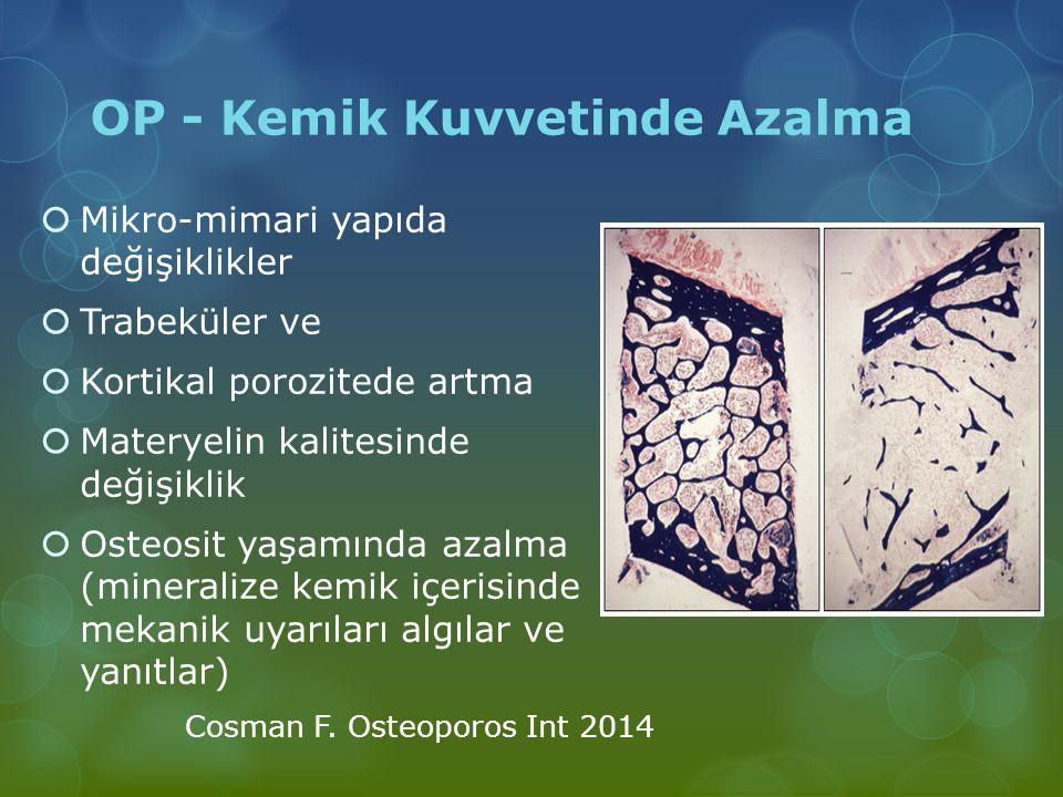 OP - Kemik Kuvvetinde Azalma  Mikro-mimari yapıda değişiklikler  Trabeküler ve  Kortikal porozitede artma  Materyelin kalitesinde değişiklik  Ost