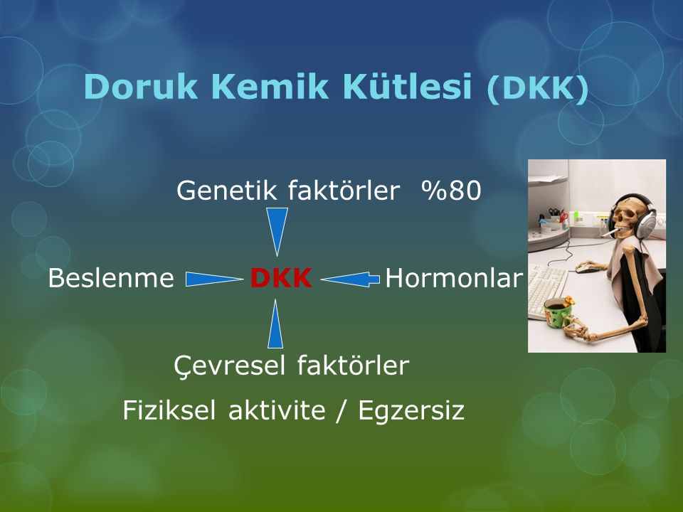 Doruk Kemik Kütlesi (DKK) Genetik faktörler %80 Beslenme DKK Hormonlar Çevresel faktörler Fiziksel aktivite / Egzersiz