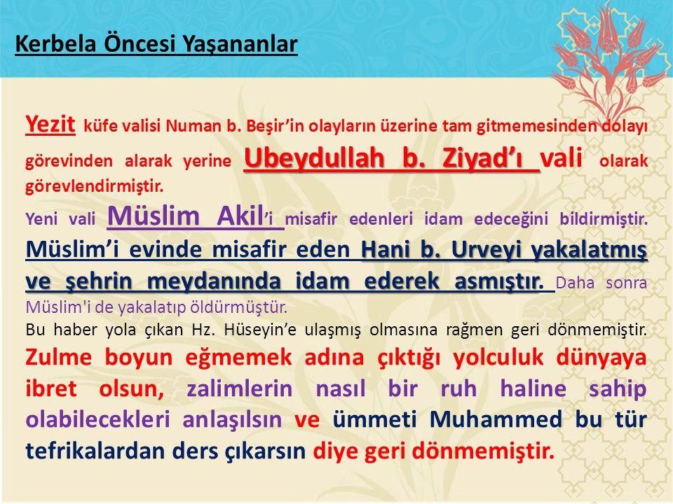Ubeydullah b. Ziyad'ı Yezit küfe valisi Numan b. Beşir'in olayların üzerine tam gitmemesinden dolayı görevinden alarak yerine Ubeydullah b. Ziyad'ı va