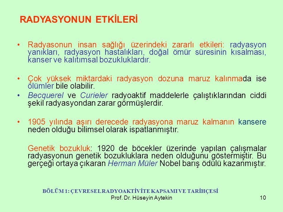 Prof. Dr. Hüseyin Aytekin10 Radyasonun insan sağlığı üzerindeki zararlı etkileri: radyasyon yanıkları, radyasyon hastalıkları, doğal ömür süresinin kı