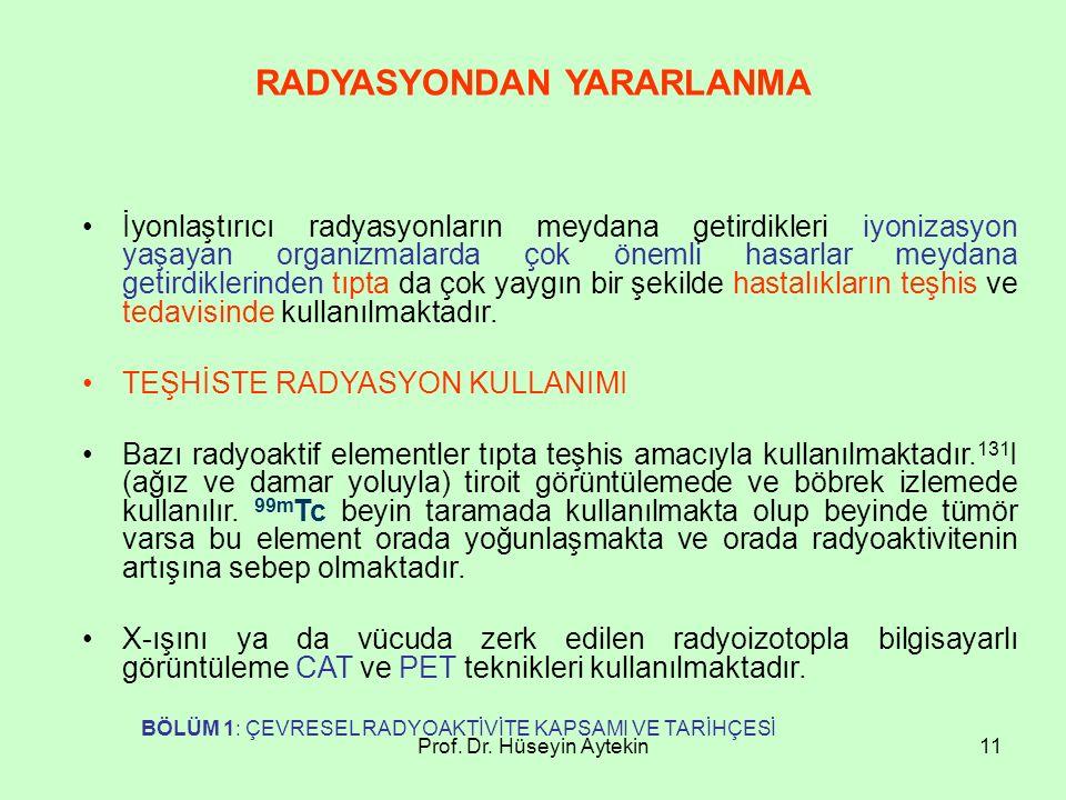 Prof. Dr. Hüseyin Aytekin11 RADYASYONDAN YARARLANMA İyonlaştırıcı radyasyonların meydana getirdikleri iyonizasyon yaşayan organizmalarda çok önemli ha
