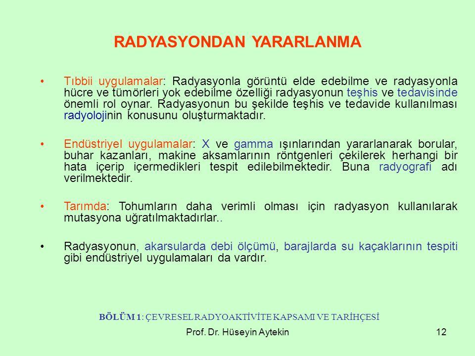 Prof. Dr. Hüseyin Aytekin12 Tıbbii uygulamalar: Radyasyonla görüntü elde edebilme ve radyasyonla hücre ve tümörleri yok edebilme özelliği radyasyonun