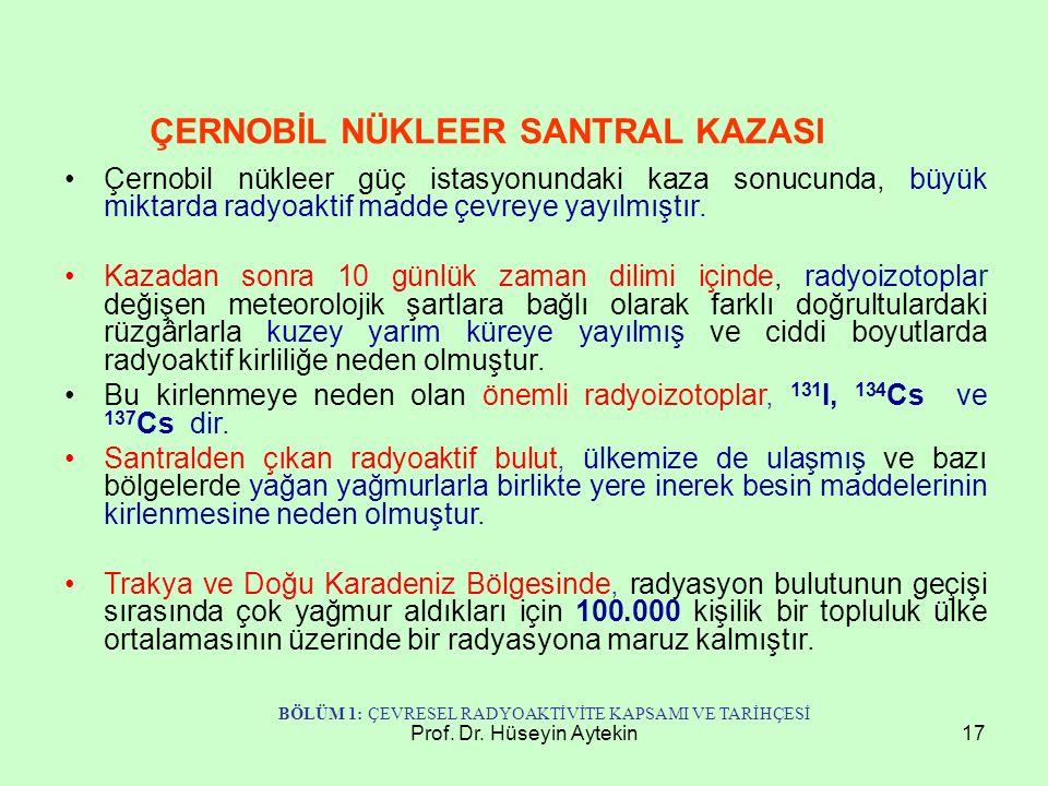 Prof. Dr. Hüseyin Aytekin17 Çernobil nükleer güç istasyonundaki kaza sonucunda, büyük miktarda radyoaktif madde çevreye yayılmıştır. Kazadan sonra 10