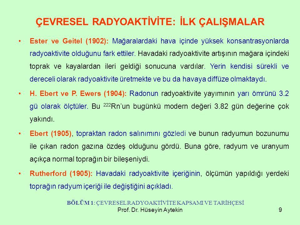 Prof. Dr. Hüseyin Aytekin9 ÇEVRESEL RADYOAKTİVİTE: İLK ÇALIŞMALAR Ester ve Geitel (1902): Mağaralardaki hava içinde yüksek konsantrasyonlarda radyoakt