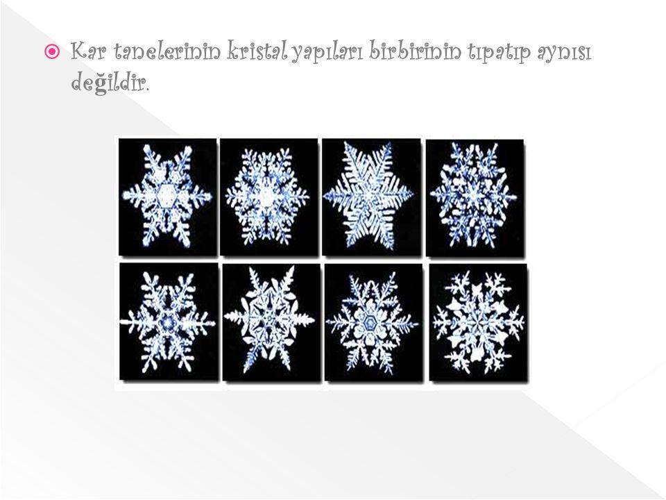  Kar tanelerinin kristal yapıları birbirinin tıpatıp aynısı de ğ ildir.