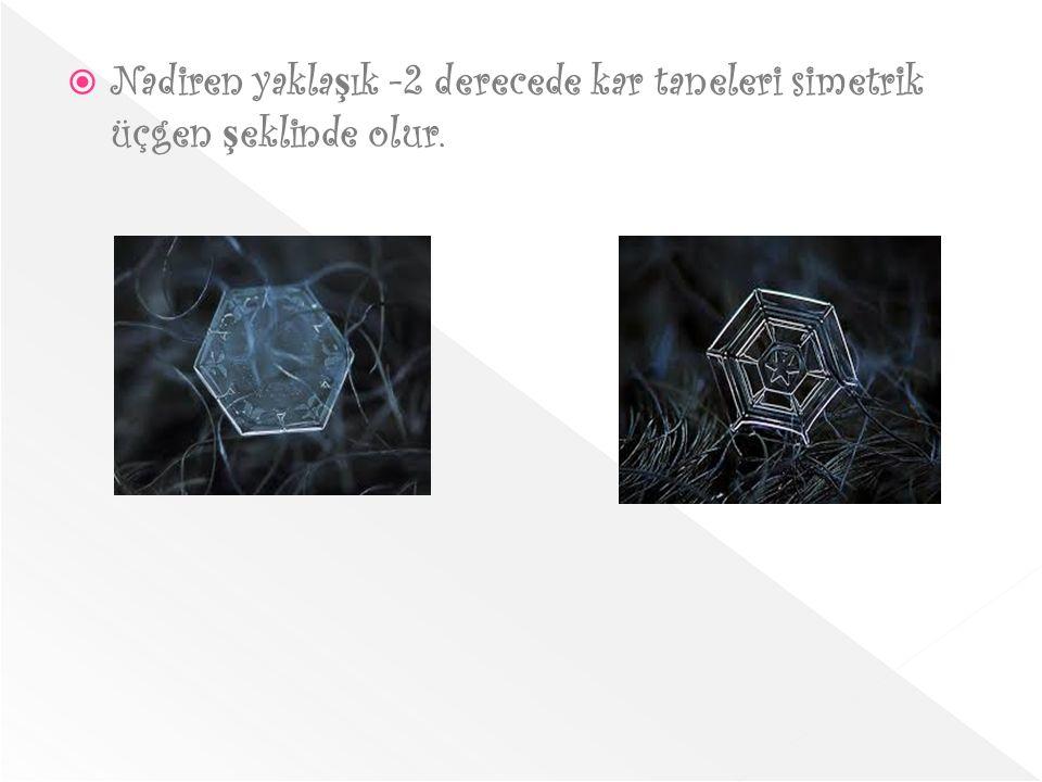  Nadiren yakla ş ık -2 derecede kar taneleri simetrik üçgen ş eklinde olur.