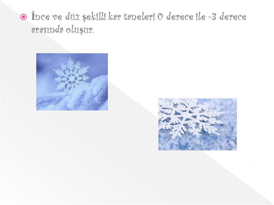  İ nce ve düz ş ekilli kar taneleri 0 derece ile -3 derece arasında olu ş ur.