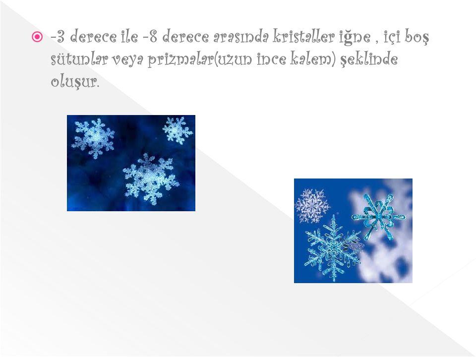  -3 derece ile -8 derece arasında kristaller i ğ ne, içi bo ş sütunlar veya prizmalar(uzun ince kalem) ş eklinde olu ş ur.