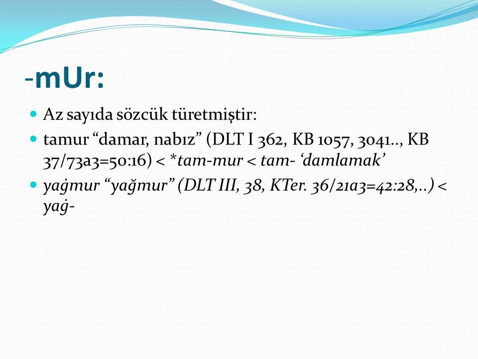 """-mUr: Az sayıda sözcük türetmiştir: tamur """"damar, nabız"""" (DLT I 362, KB 1057, 3041.., KB 37/73a3=50:16) < *tam-mur < tam- 'damlamak' yaġmur """"yağmur"""" ("""