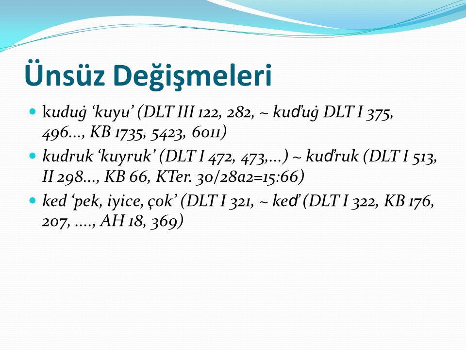 Ünsüz Değişmeleri kuduġ 'kuyu' (DLT III 122, 282, ~ ku ď uġ DLT I 375, 496..., KB 1735, 5423, 6011) kudruk 'kuyruk' (DLT I 472, 473,...) ~ ku ď ruk (D