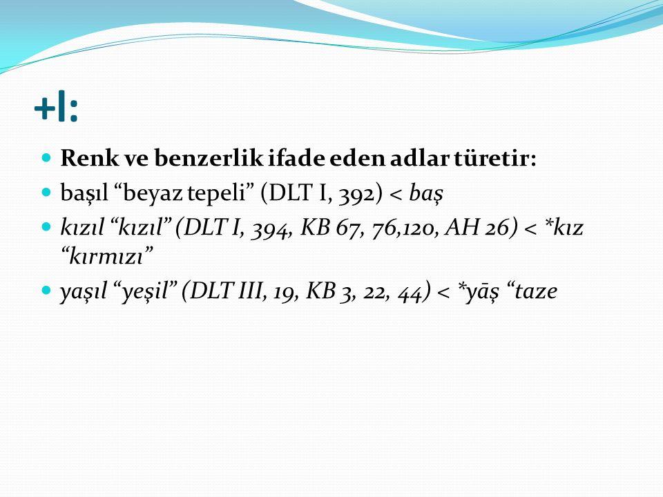 """+l: Renk ve benzerlik ifade eden adlar türetir: başıl """"beyaz tepeli"""" (DLT I, 392) < baş kızıl """"kızıl"""" (DLT I, 394, KB 67, 76,120, AH 26) < *kız """"kırmı"""