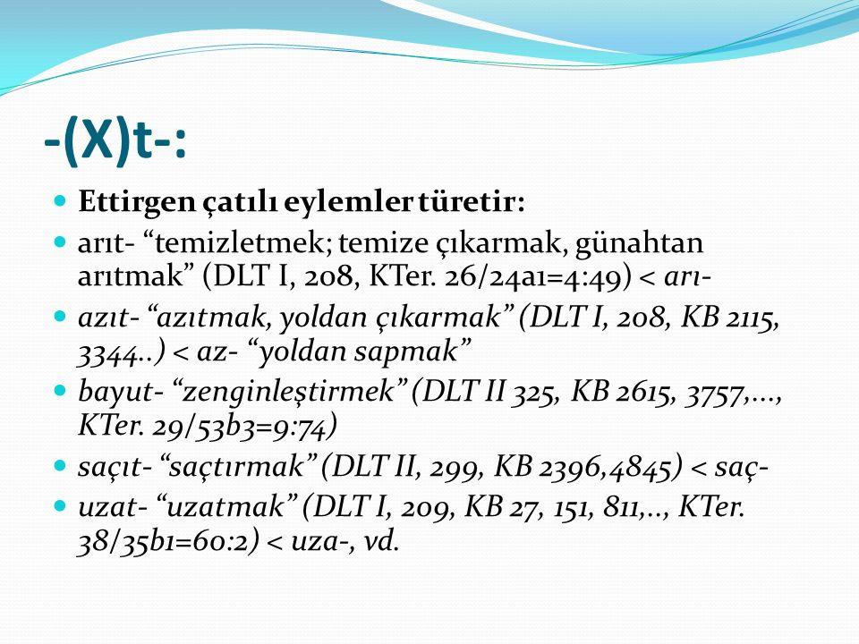 """-(X)t-: Ettirgen çatılı eylemler türetir: arıt- """"temizletmek; temize çıkarmak, günahtan arıtmak"""" (DLT I, 208, KTer. 26/24a1=4:49) < arı- azıt- """"azıtma"""