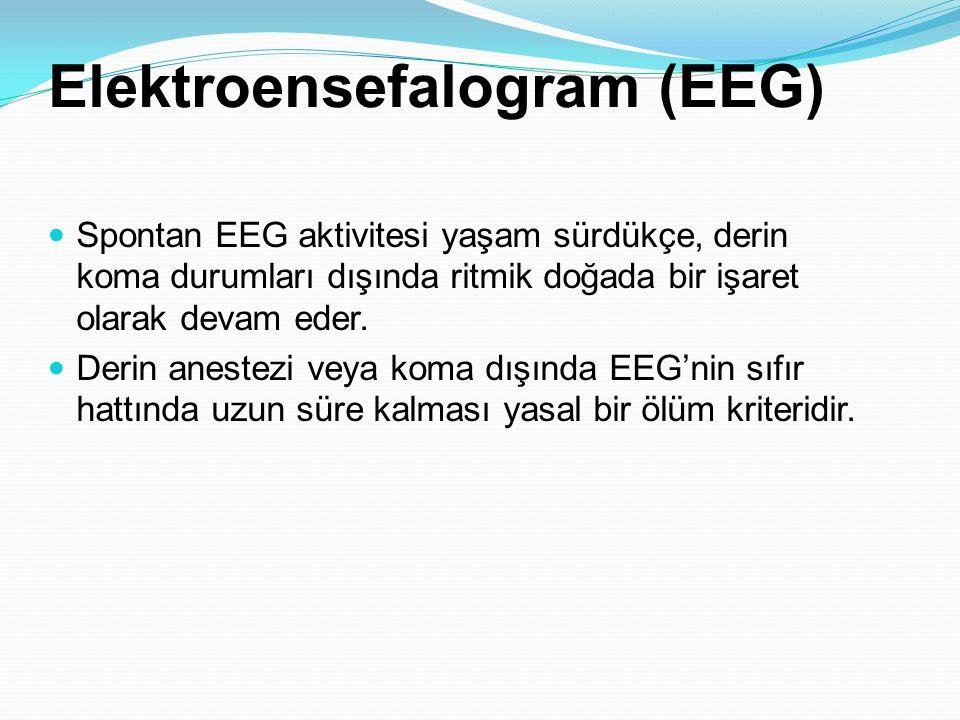 Elektroensefalogram (EEG) Spontan EEG aktivitesi yaşam sürdükçe, derin koma durumları dışında ritmik doğada bir işaret olarak devam eder. Derin aneste