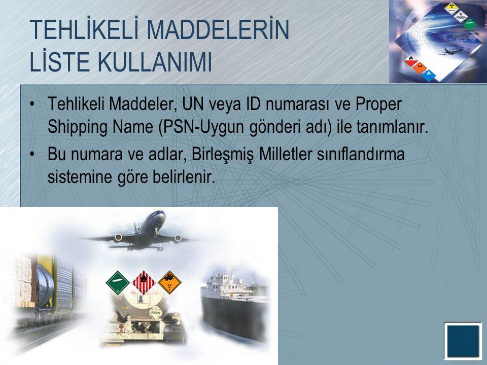 TEHLİKELİ MADDELERİN LİSTE KULLANIMI Tehlikeli Maddeler, UN veya ID numarası ve Proper Shipping Name (PSN-Uygun gönderi adı) ile tanımlanır. Bu numara