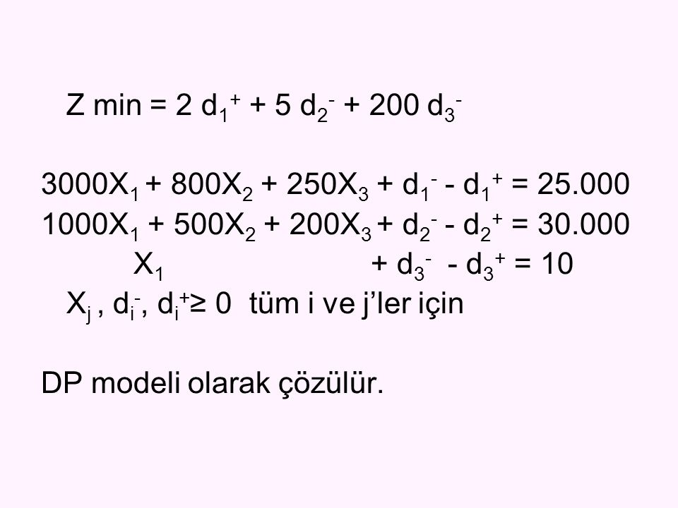 Z min = 2 d 1 + + 5 d 2 - + 200 d 3 - 3000X 1 + 800X 2 + 250X 3 + d 1 - - d 1 + = 25.000 1000X 1 + 500X 2 + 200X 3 + d 2 - - d 2 + = 30.000 X 1 + d 3