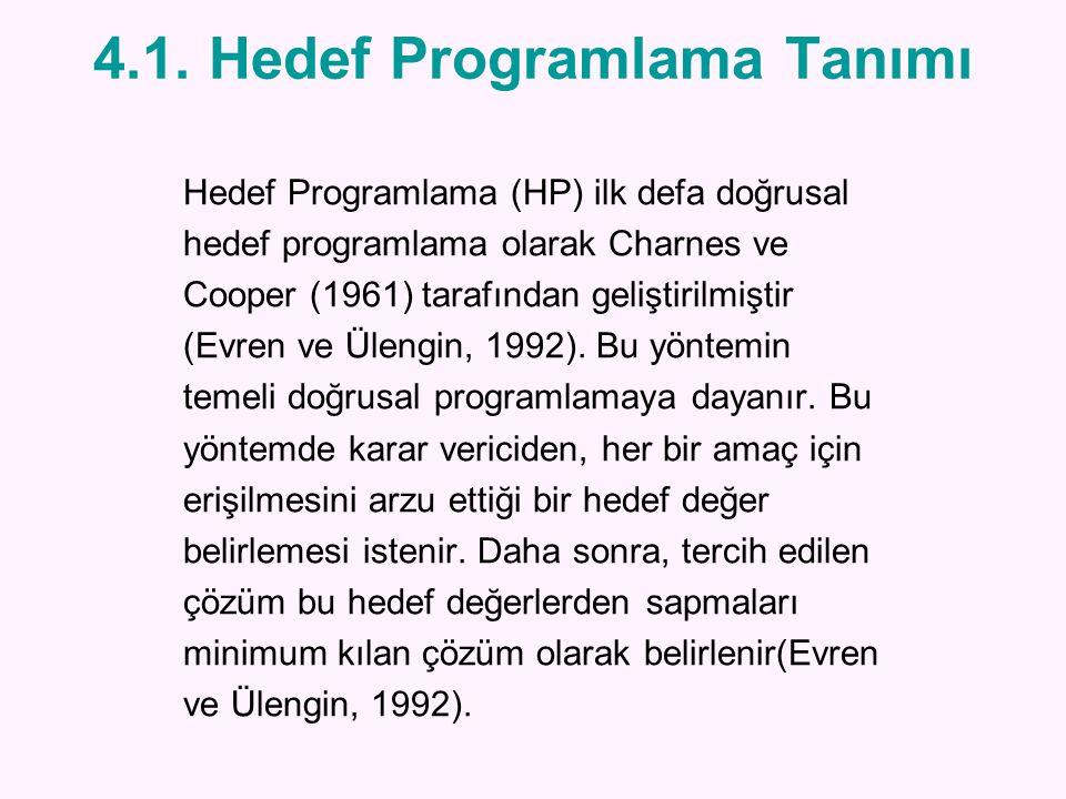 4.1. Hedef Programlama Tanımı Hedef Programlama (HP) ilk defa doğrusal hedef programlama olarak Charnes ve Cooper (1961) tarafından geliştirilmiştir (