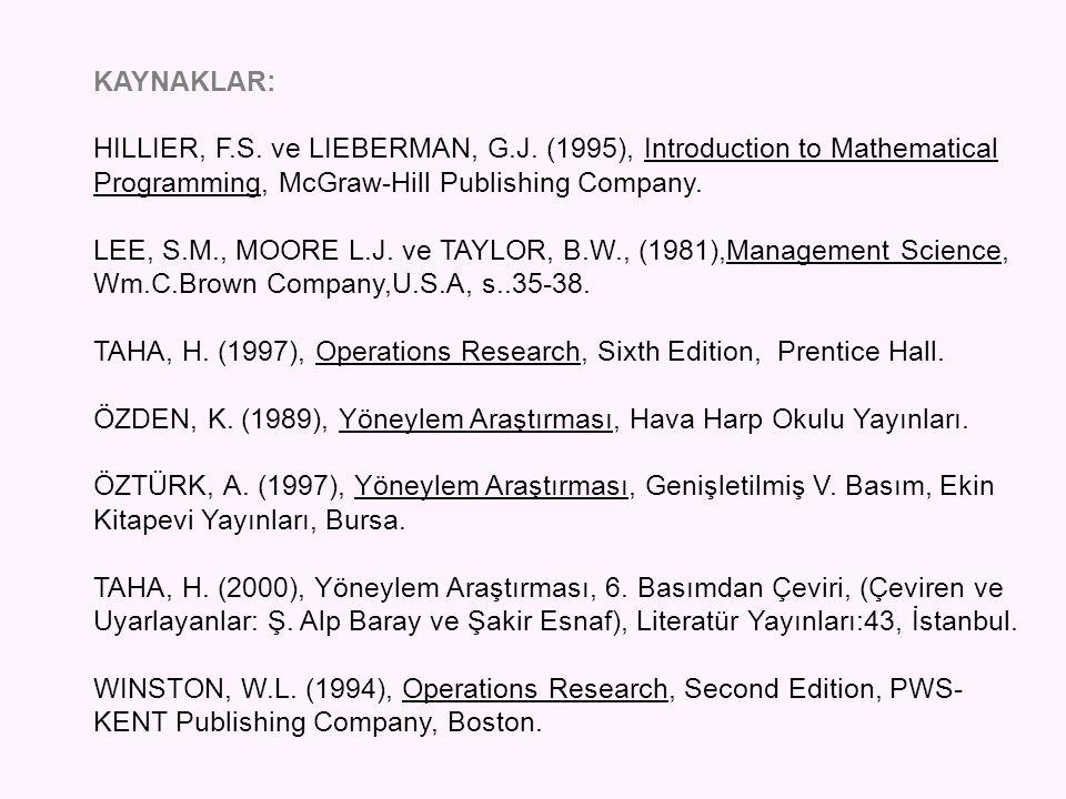 KAYNAKLAR: HILLIER, F.S. ve LIEBERMAN, G.J. (1995), Introduction to Mathematical Programming, McGraw-Hill Publishing Company. LEE, S.M., MOORE L.J. ve