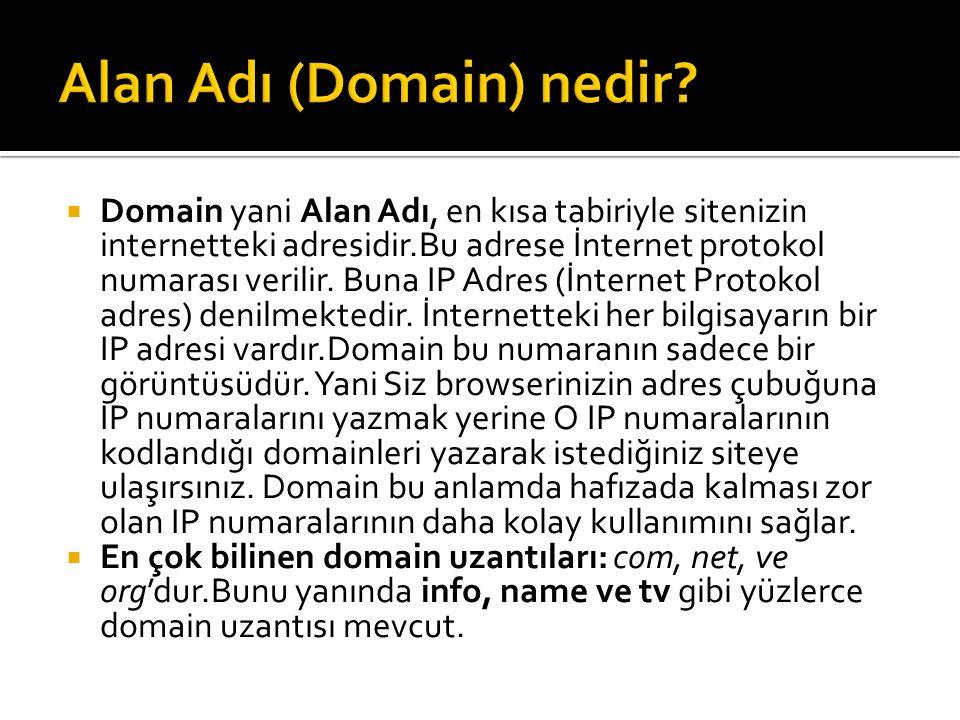  com.tr: Commercial (ticari) anlamına gelen com uzantının uluslararası bir kullanımı var.
