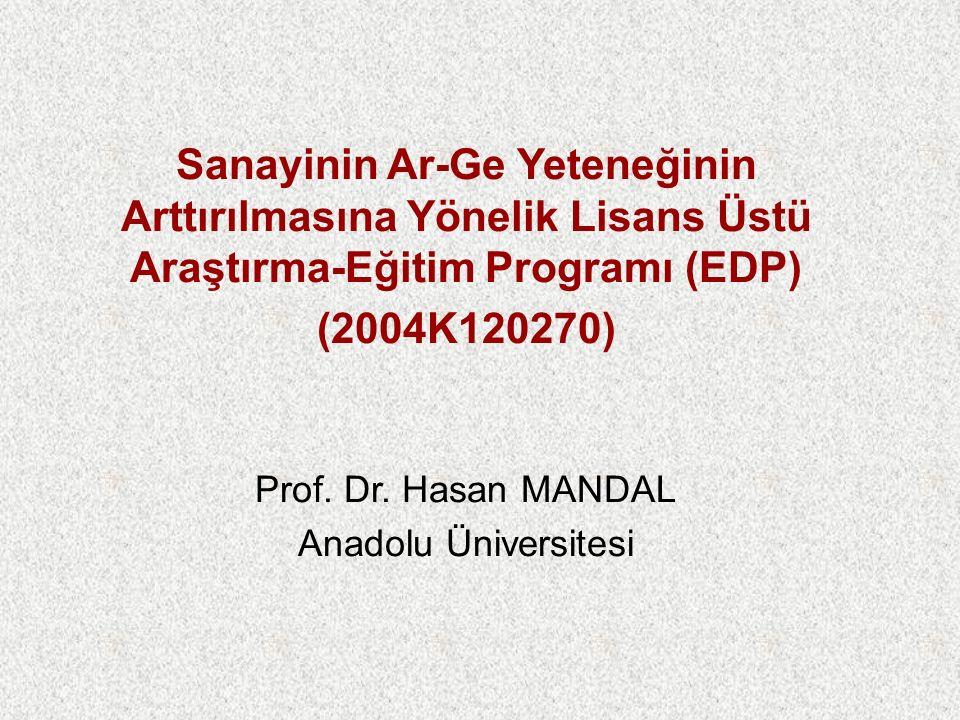 Sanayinin Ar-Ge Yeteneğinin Arttırılmasına Yönelik Lisans Üstü Araştırma-Eğitim Programı (EDP) (2004K120270) Prof.