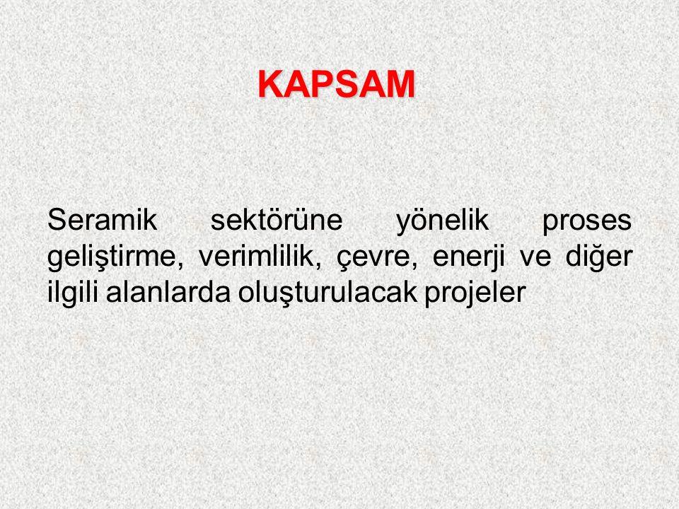 Seramik sektörüne yönelik proses geliştirme, verimlilik, çevre, enerji ve diğer ilgili alanlarda oluşturulacak projeler KAPSAM
