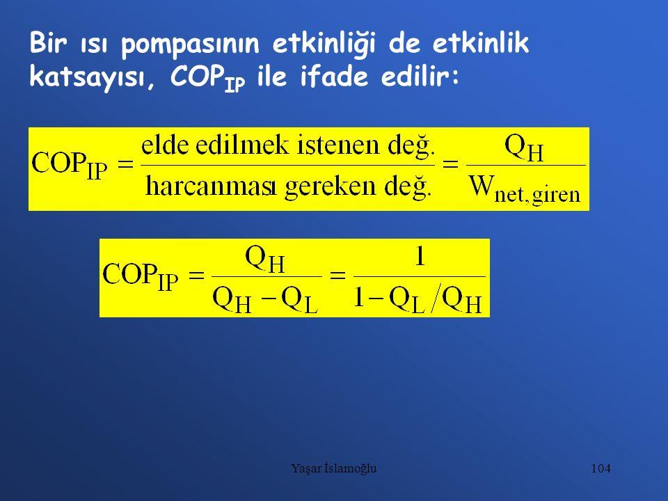 104 Bir ısı pompasının etkinliği de etkinlik katsayısı, COP IP ile ifade edilir: Yaşar İslamoğlu