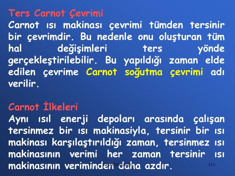 110 Ters Carnot Çevrimi Carnot ısı makinası çevrimi tümden tersinir bir çevrimdir. Bu nedenle onu oluşturan tüm hal değişimleri ters yönde gerçekleşti