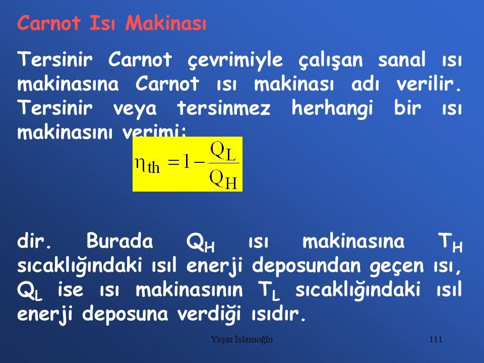 111 Carnot Isı Makinası Tersinir Carnot çevrimiyle çalışan sanal ısı makinasına Carnot ısı makinası adı verilir. Tersinir veya tersinmez herhangi bir