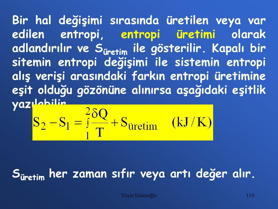 119 Bir hal değişimi sırasında üretilen veya var edilen entropi, entropi üretimi olarak adlandırılır ve S üretim ile gösterilir. Kapalı bir sitemin en